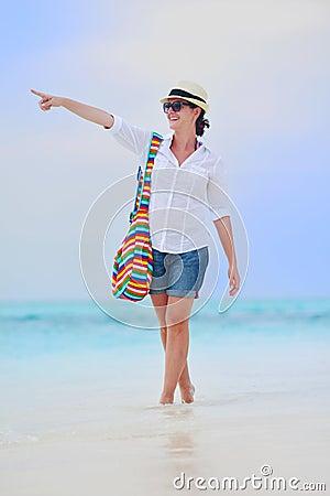 Happy woman enjoy summer vacation
