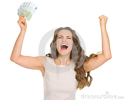 Happy woman with euro banknotes rejoicing success