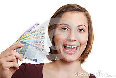 Happy woman with Euro money bills