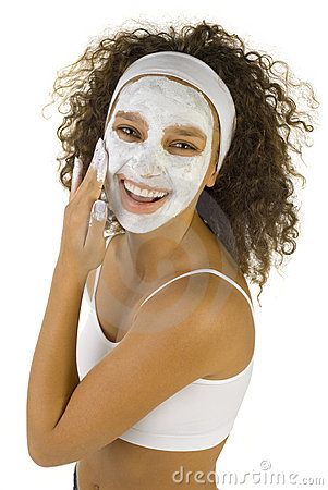 Happy woman with face mask