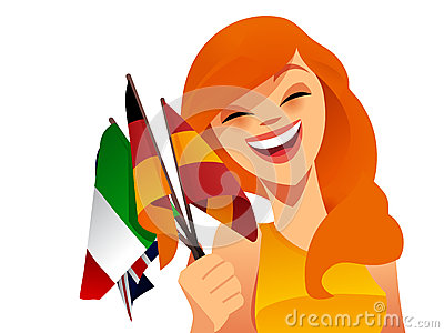 Happy woman with flags