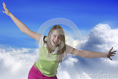 Woman flying in the sky