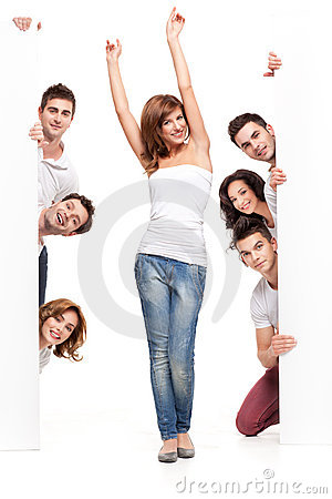 Happy woman and friends advertising