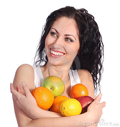 Happy woman with fruits
