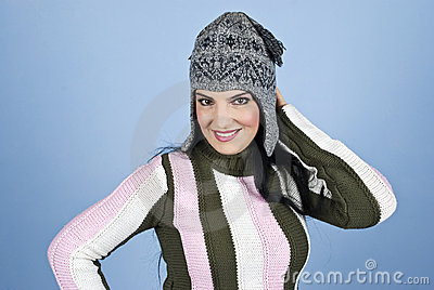 Happy woman with funny wool cap