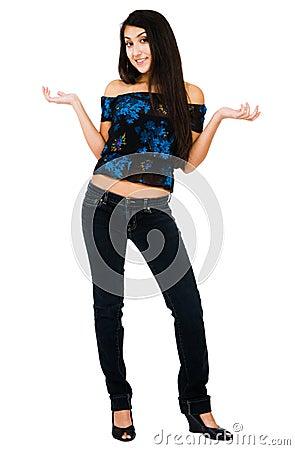 Happy woman gesturing