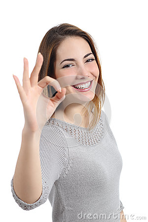 Free Happy Woman Gesturing Ok Royalty Free Stock Photo - 38563465