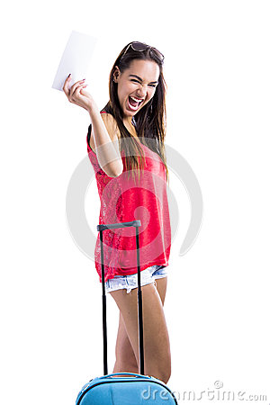 Happy woman holding  a flight ticket