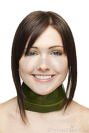 happy woman with green leaf nacklace