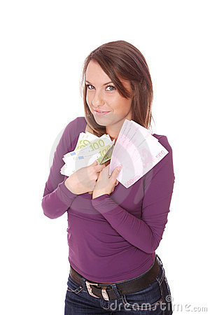 Happy woman with group of euro bills Isolated.