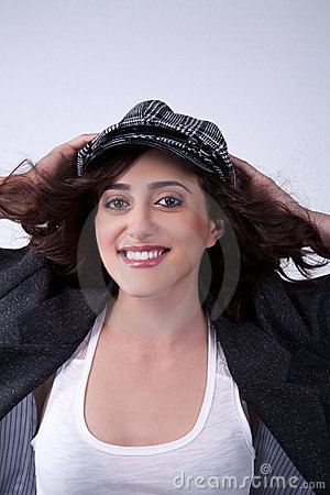 Happy woman in a hat