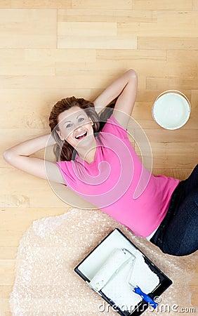 Happy woman having a break