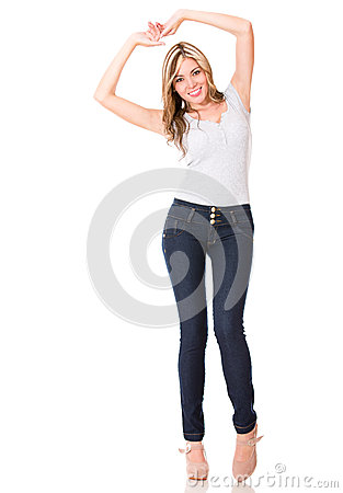 Happy woman having fun