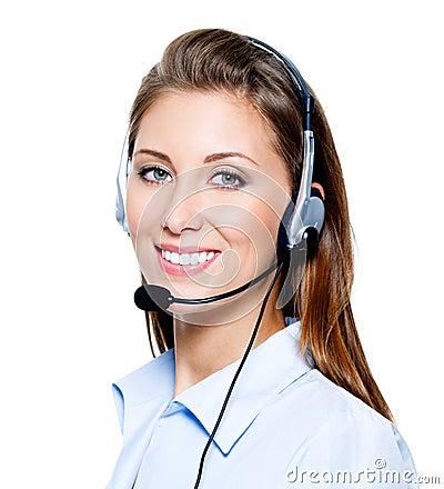 Happy woman in headset