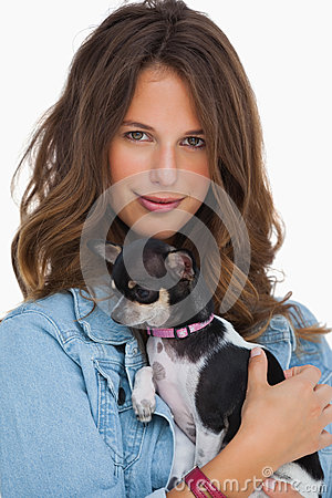 Happy woman with her chihuahua
