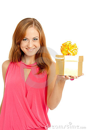 Free Happy Woman Holding A Gift Box Stock Photos - 11239883