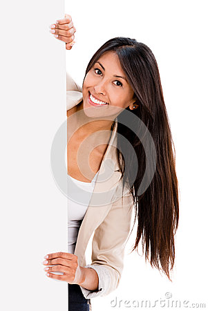 Happy woman holding a banner