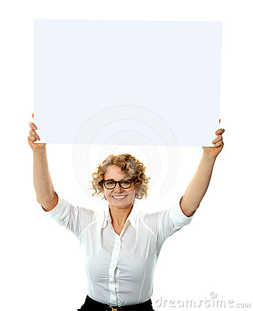 Happy Woman Holding Blank Billboard Stock Photo - Image: 24480280