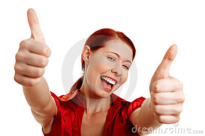 Happy woman holding both thumbs up