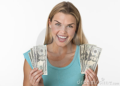 Happy Woman Holding Cash