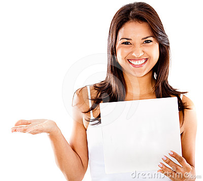 Happy woman holding a paper