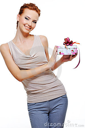 Happy woman holding the small present box