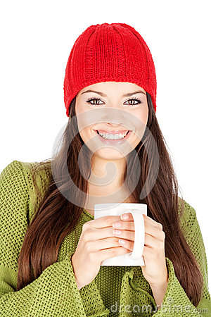Happy woman holding a teapot