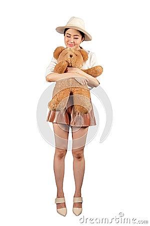 Free Happy Woman Hugging A Big Teddy Bear Royalty Free Stock Image - 126671256
