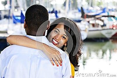 Happy woman hugging man
