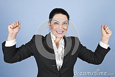 Happy woman :I won!