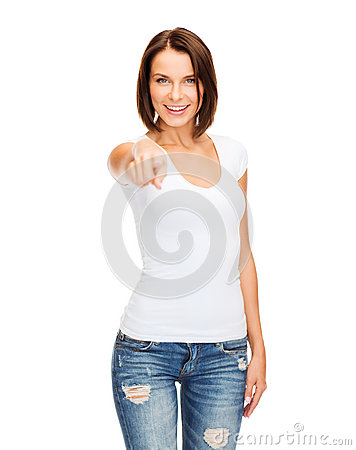 Free Happy Woman In Blank White T-shirt Pointing At You Stock Photography - 34390562