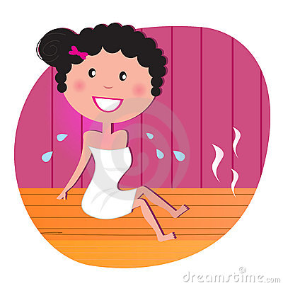 Happy woman in infrared sauna
