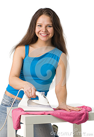 Happy woman with iron