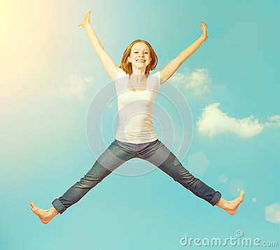 Free Happy Woman Jump In The Sky Stock Image - 38073121