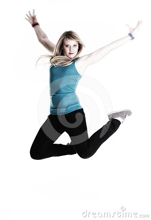 Happy woman jumping with arms up isolated