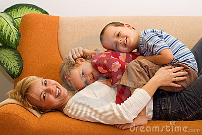Happy woman and kids