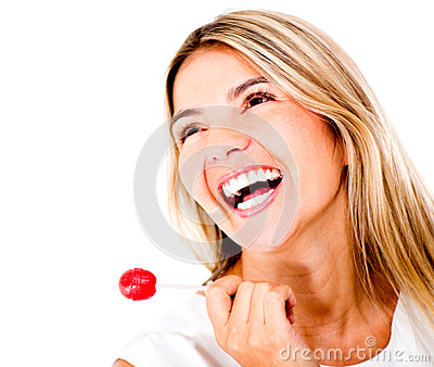 Happy woman with a lollipop