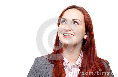 Happy woman, looking up