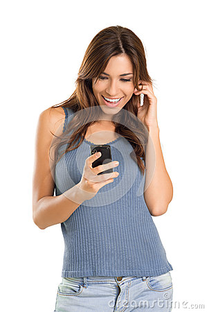 Happy woman on mobile phone