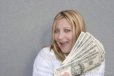 Happy woman with money