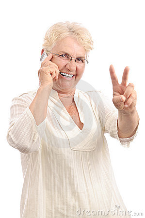 Happy woman with new cell phone