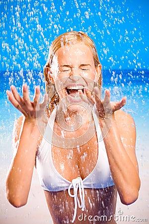 Free Happy Woman On Sea Beach Stock Image - 2561341