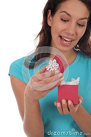 Happy Woman Opening Present