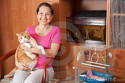 Happy  woman   with  pets