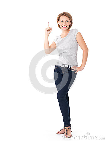 Happy woman pointing up with her finger