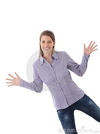 Happy woman posing with arms wide open