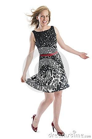 Happy Woman Posing In Sleeveless Dress