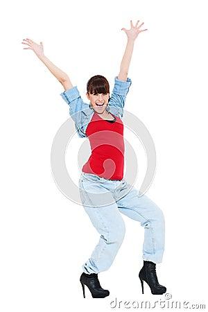 Happy woman raised hands up
