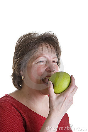 Happy Woman in Red Eating Apple