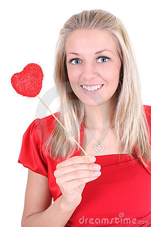 Happy woman with red heart